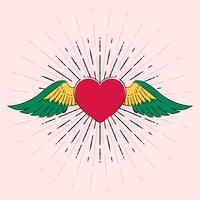 Coração de tatuagem com asas Old School Retro Vector Illustration