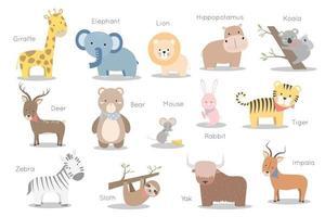 conjunto de coleta de pacote de personagens de desenhos animados de animais selvagens vetor