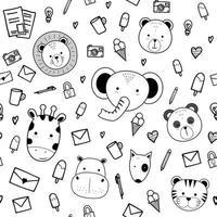 animais fofos cabeça com coisas cartoon doodle padrão sem emenda vetor