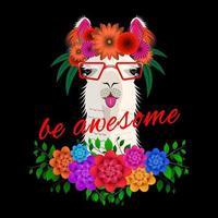 estampa de alpaca de buquê de flores vetor