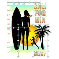 camisa com estampa da silhueta da garota do surf da califórnia vetor