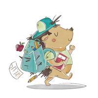 Saco de usar personagem bonito Hedgehog, caminhando para ir para a escola vetor