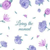Fundo bonito com rosas roxas e rosa com folhas flutuando vetor