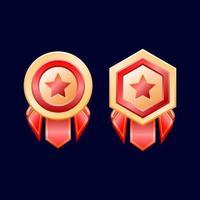 medalhas de distintivo de classificação dourada brilhante da interface do usuário do jogo com ilustração vetorial de fita vetor