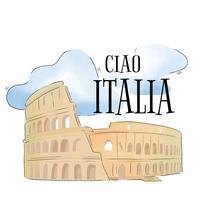 Aquarela Coliseu de Roma vetor