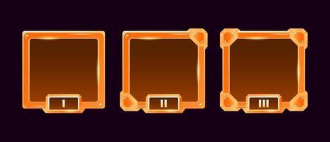 conjunto de moldura de avatar de borda da interface do usuário do jogo de geléia dourada com grau para elementos de ativos de gui vetor