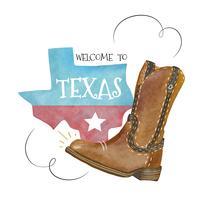 Mapa de Texas e bota de cowboy com mensagem vetor