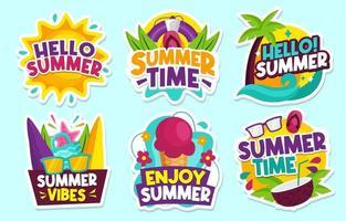 coleção de adesivos coloridos de verão vetor