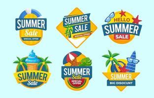 coleção de crachás de liquidação de verão vetor