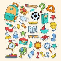 uma coleção variada e divertida de adesivos escolares vetor