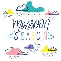 Ilustração de temporada de Moonson com nuvens coloridas vetor