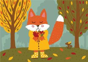 raposa bonita em uma capa de chuva amarela e botas de borracha com um buquê de folhas de outono na floresta. vetor
