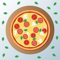 Pepperoni De Pizza Com Ilustração De Fatia vetor