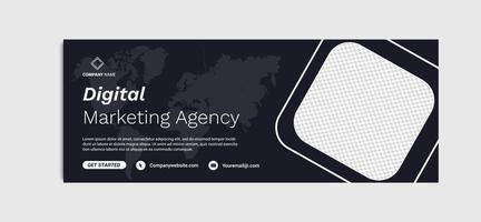 modelo de design de banner de marketing digital para mídia social, cronograma de promoção de marketing de negócios digitais Facebook e modelo de capa de mídia social vetor