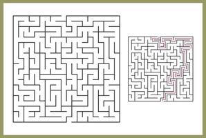 labirinto para crianças. labirinto quadrado abstrato. encontre o caminho para o presente. jogo para crianças. quebra-cabeça para crianças. enigma do labirinto. ilustração vetorial plana isolada no fundo branco. com vetor de resposta livre
