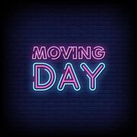 vetor de texto de estilo de sinais de néon do dia em movimento