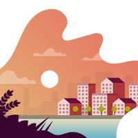 Por do sol liso da arquitectura da cidade com ilustração do vetor do fundo do inclinação