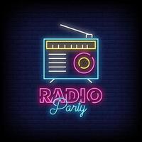rádio festa sinais de néon estilo texto vetor
