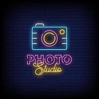 vetor de texto de estilo de sinais de néon de estúdio fotográfico