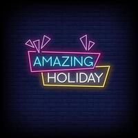 incrível vetor de texto de estilo de sinais de néon de férias