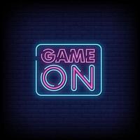 jogo em vetor de texto de estilo de sinais de néon