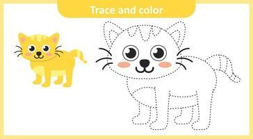 rastrear e colorir gato fofo vetor