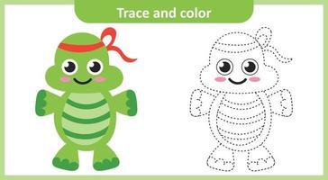 rastrear e colorir tartaruga fofa vetor
