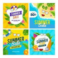 postagem de marketing de verão nas redes sociais vetor