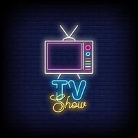 vetor de texto de estilo de sinais de néon programa de tv