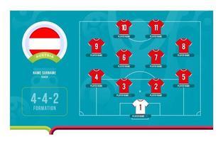 ilustração em vetor fase final do torneio de futebol line-up da Áustria