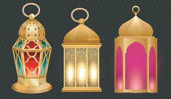 lanternas árabes de ouro vintage. conjunto realista de lâmpadas luminosas penduradas com ornamentos árabes dourados. islâmico brilhando fanous isolado no fundo transparente vetor livre