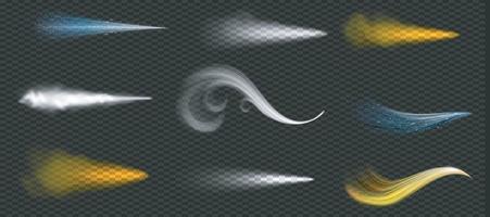 fluxos ondulados de pó dourado, branco e azul. Ilustrador vetorial 10 vetor