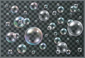 conjunto de vetor de bolhas de sabão coloridas realistas. ilustrador 10