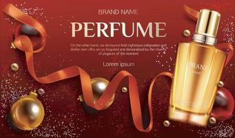 frasco de vidro de perfume dourado. ilustrador vetorial 10 vetor