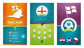banner vertical de futebol europeu da seleção da inglaterra definido para mídia social vetor