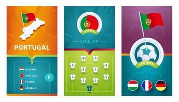 banner vertical da seleção de futebol europeu de portugal definido para redes sociais vetor