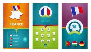 banner vertical de futebol europeu da seleção francesa definido para mídia social vetor