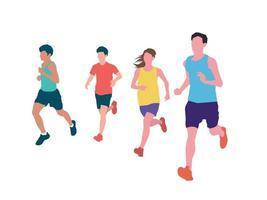 corredor correndo juntos em ilustração vetorial gráfica vetor