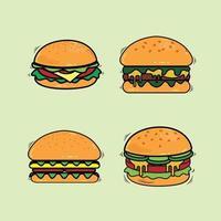 ilustração em vetor linha de um conjunto de hambúrguer de fast food