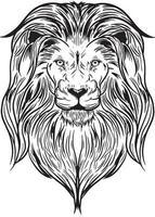 uma cabeça de leão em ilustração vetorial preto e branco