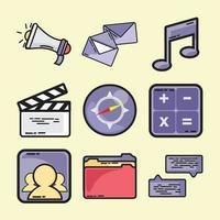 aplicativo móvel de base de mídia vetorial com conjunto de cores vetor