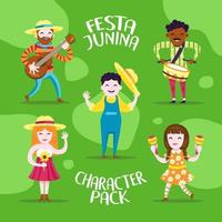 pacote de personagens festa junina vetor