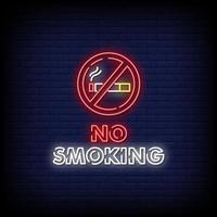 não fumar sinais de néon estilo vetor de texto
