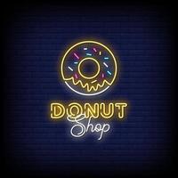 vetor de texto de estilo de sinais de néon loja de donuts