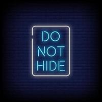não esconder vetor de texto de estilo de sinais de néon