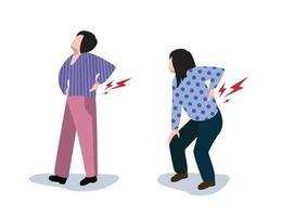 mulher que sofre de dores nas costas. vetor