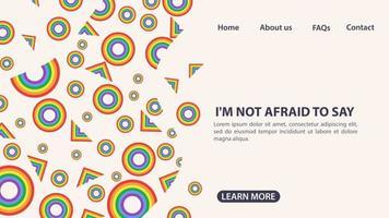 design para a página de destino de um site e uma bandeira de arco-íris de aplicativos móveis na forma de círculos e triângulos espaço de símbolo lgbt para informações e botões de navegação no site vetor