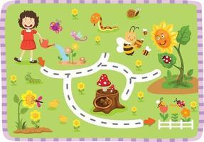 jogo educacional de labirinto para ilustração infantil