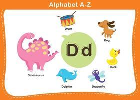ilustração em vetor letra d do alfabeto