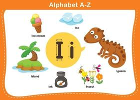 ilustração em vetor letra i do alfabeto